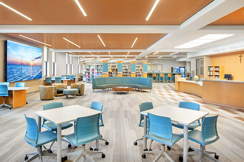 BBS redesigns and renovates 8,200 s/f high school library; $2.08 million project located at St. John the Baptist Diocesan High School