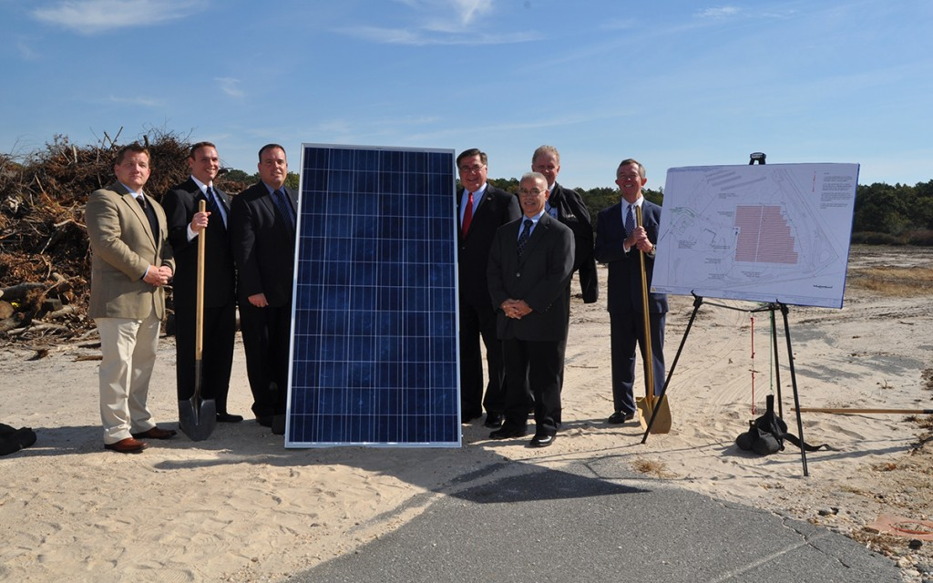 Shown (from left) are: Keith Feldmann, VP of Elder Contracting; Frank Tassone, executive assistant to the commissioner of Brookhaven's department of waste management; Panico; Romaine; Bob Boerner, manager of renewable programs for PSEGLI; Kevin Harvey, business manager of IBEW Local 25; and Brian Hennessey, ACE VP.