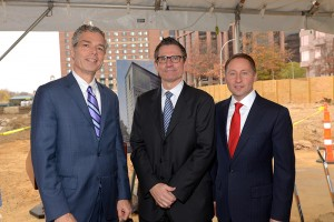 Shown (from left) are: Mayor Thomas Roach, LCOR Senior Vice President James Driscoll, and County Executive Rob Astorino.
