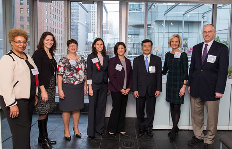 Shown (from left) are: Babara Armand, PWC president; Chelsea LeMar, PWC executive director; Donna Ryan-Rose; Dr. Diana Anderson; Christina DeRose; Thomas Ahn; Tracy Nichols; and Neil Halpern.