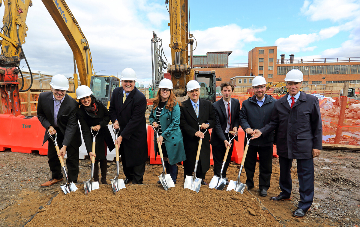 Shown (from left) are: Purnima Kapur, New York City Department of City Planning; Jeremiah Kane, Rubenstein Partners; Toby Moskovitz, Heritage Equity Partners; Joseph Lentol, and New York State Assemblyman; Stephen Levin, New York City councilman.