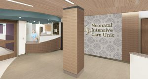 Rendering, reception area at Sisters Hospital's Neonatal Intensive Care Unit - Buffalo, NY