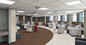 Rendering, interior Neonatal Intensive Care Unit at Sisters Hospital - Buffalo, NY
